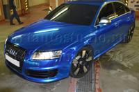 Audi RS6 стайлинг синей хром плёнкой